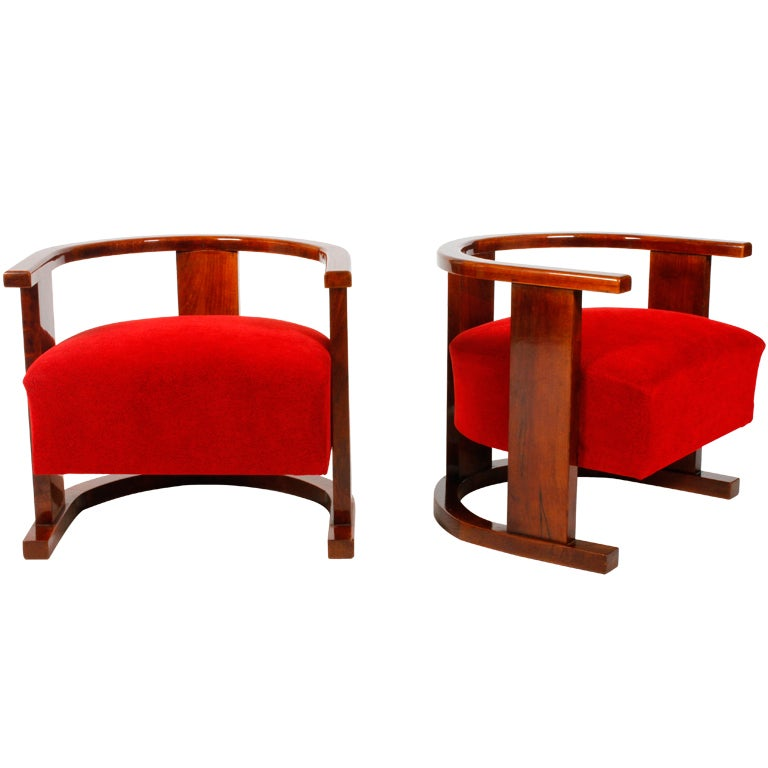 Pair of Art Deco Form Chairs 1