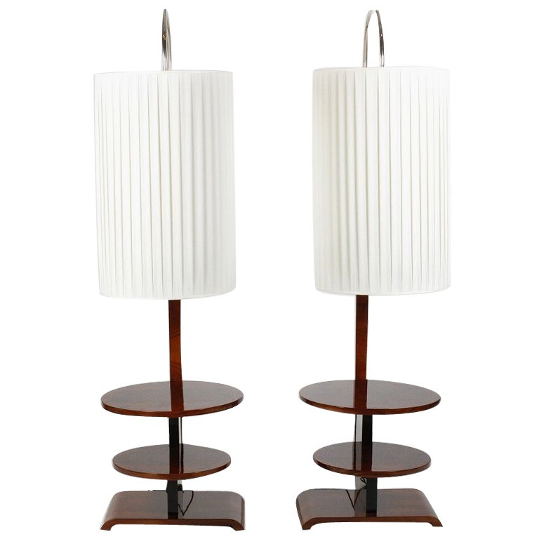pair of art deco arc floor lamps with two tiered shelves at 1stdibs. Black Bedroom Furniture Sets. Home Design Ideas