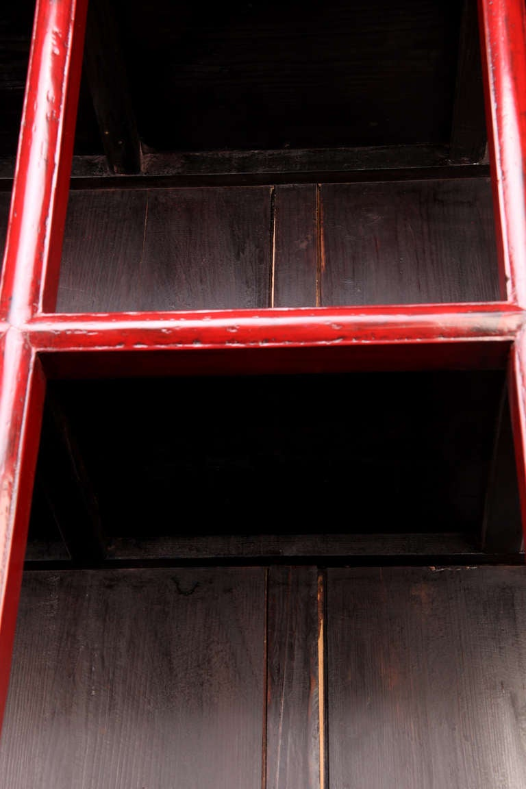19th Century Red Lacquer Display Cabinet with 6 Drawers with Restoration 5