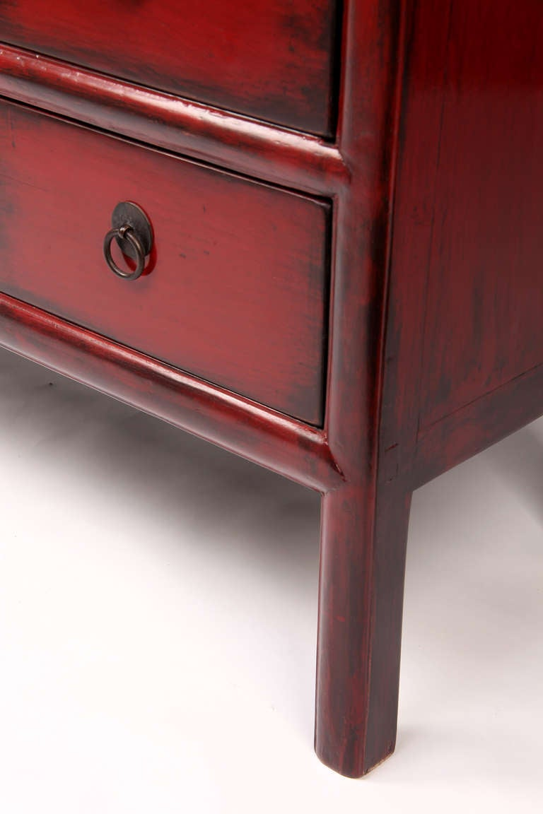 19th Century Red Lacquer Display Cabinet with 6 Drawers with Restoration 6