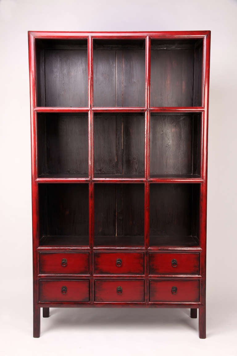 19th Century Red Lacquer Display Cabinet with 6 Drawers with Restoration 2