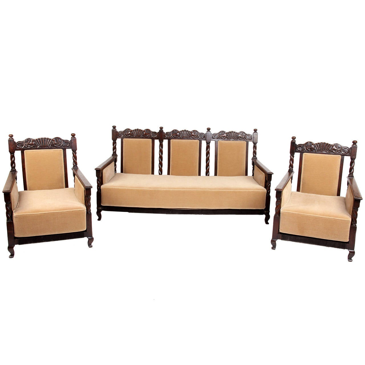 3 piece british colonial living room suite at 1stdibs for 3 piece living room furniture