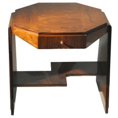 Art Deco Octagonal Side Table with Drawer