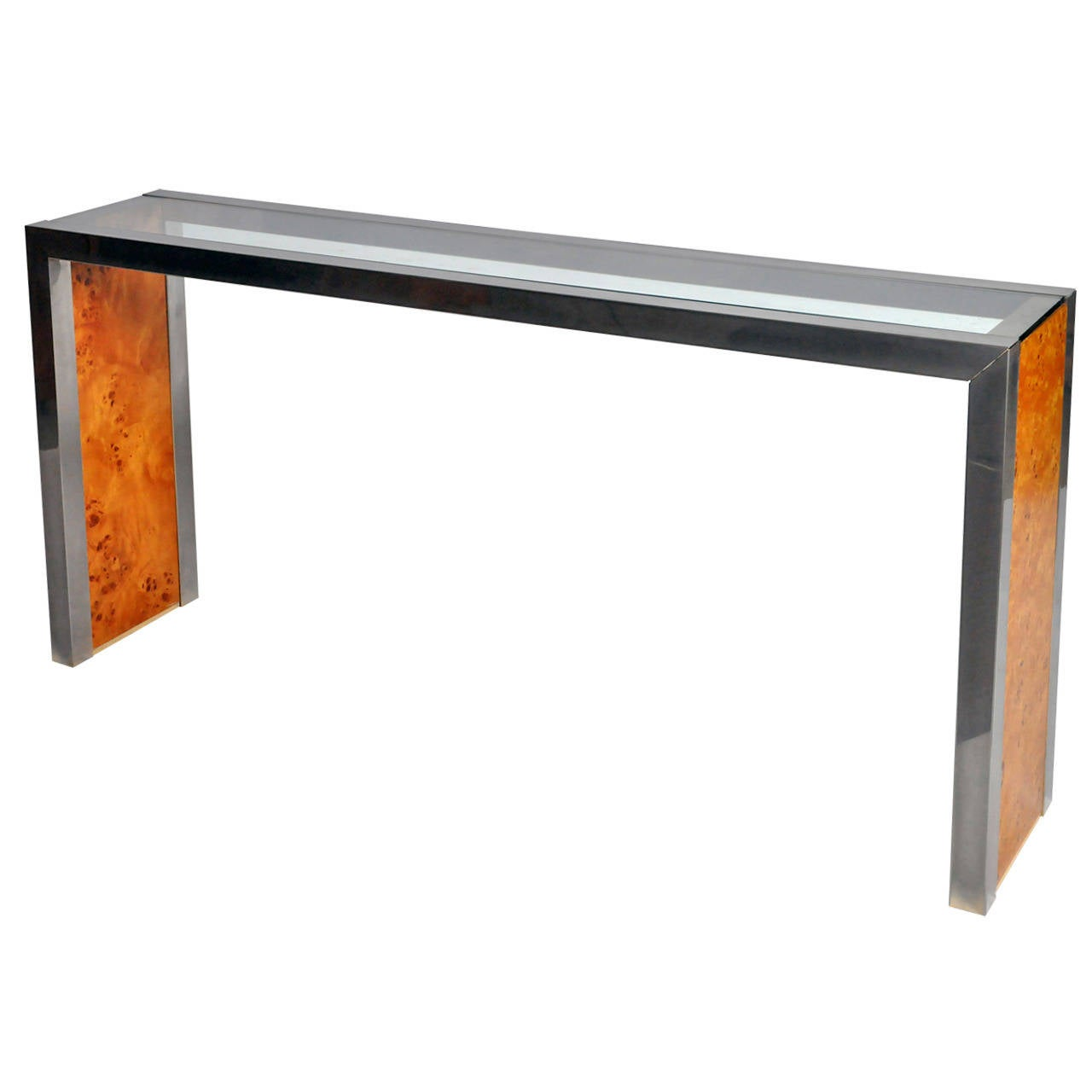 Vintage Chrome Wood And Gl Console Table For