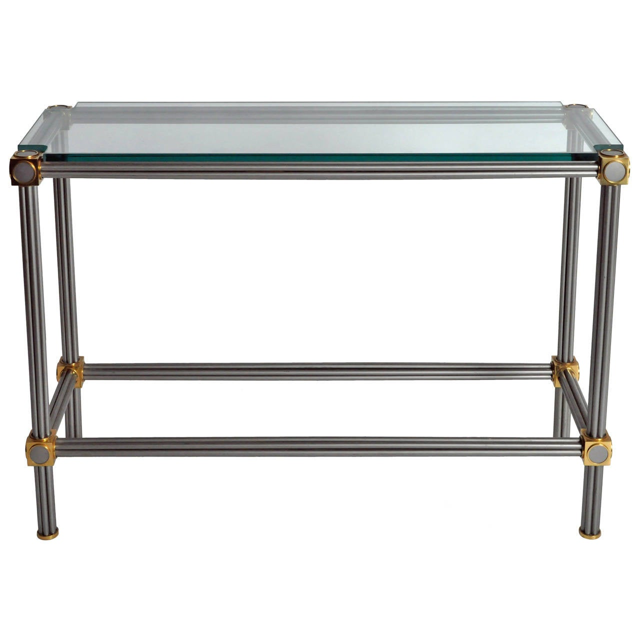 French Steel and Brass Console Table