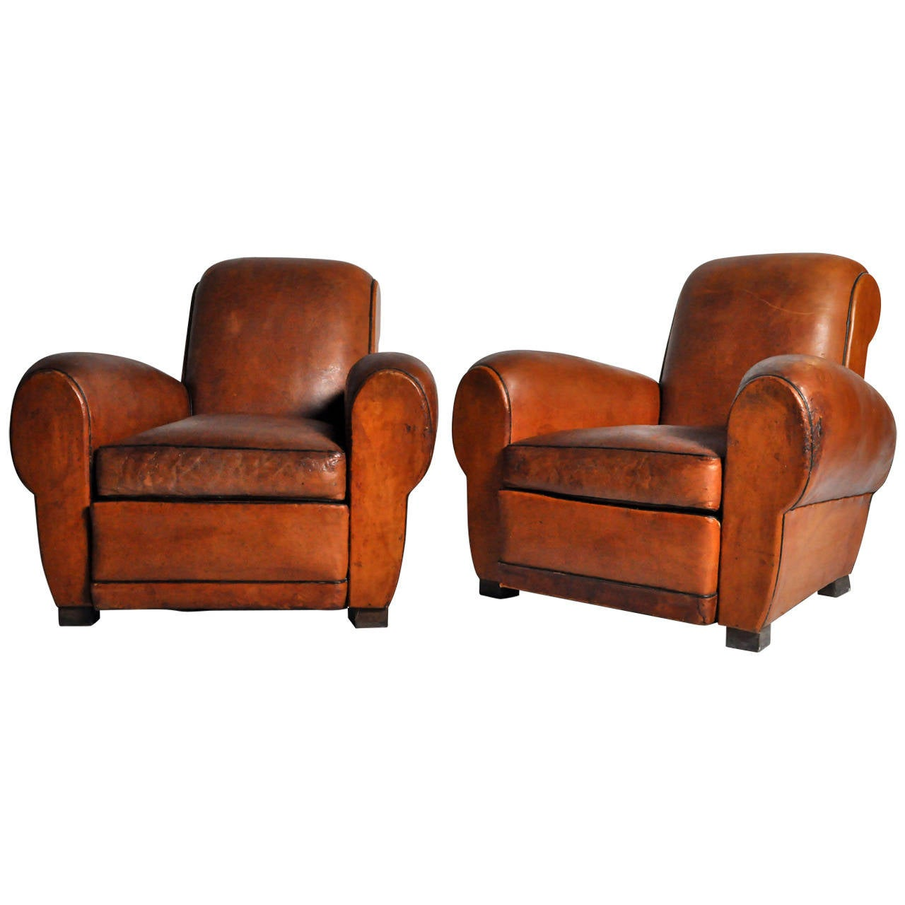 French Art Deco Leather Club Chairs At 1stdibs