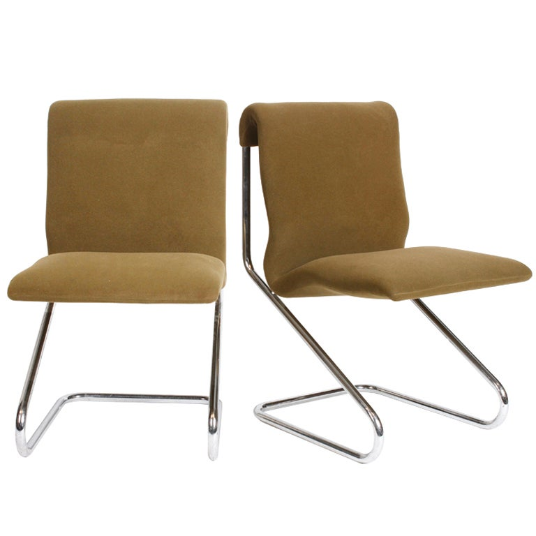 Pair of French Chrome Side Chairs For Sale