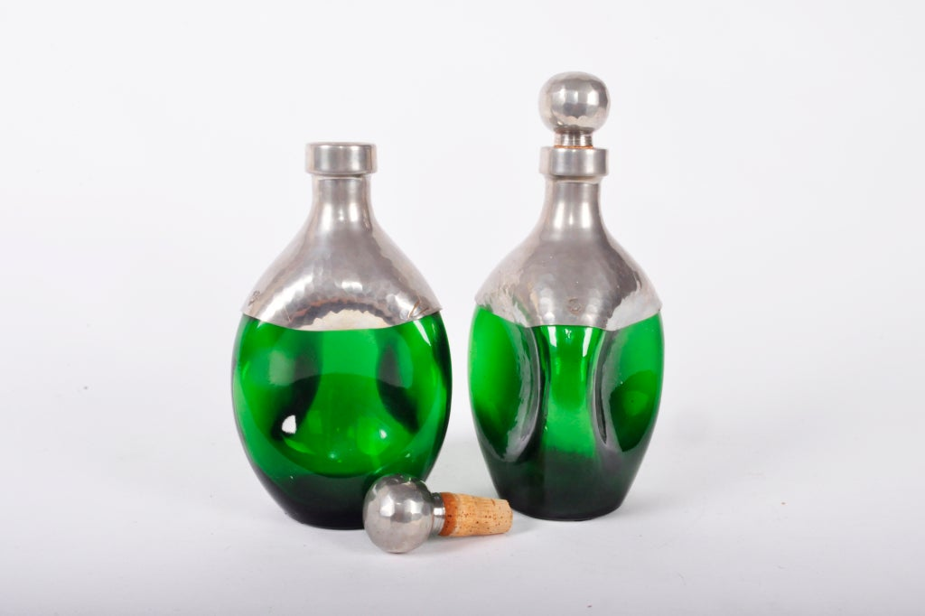 French Pair of Green Glass Vessels