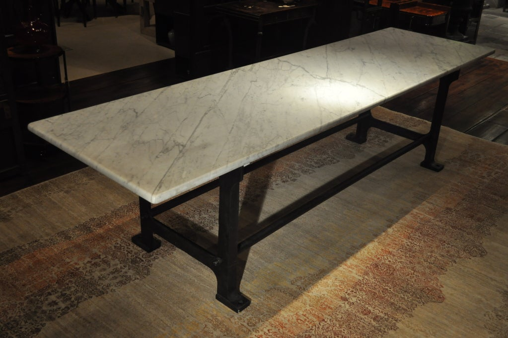 Long Marble Baker S Table With Iron Legs At 1stdibs