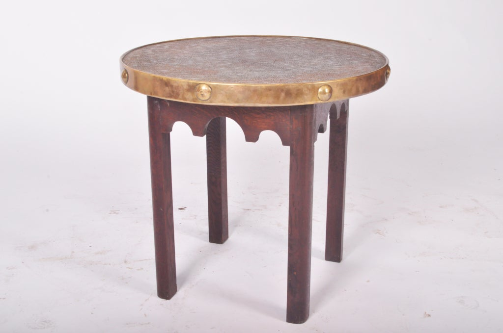 Round Side Table With Hammered Brass Top At 1stdibs