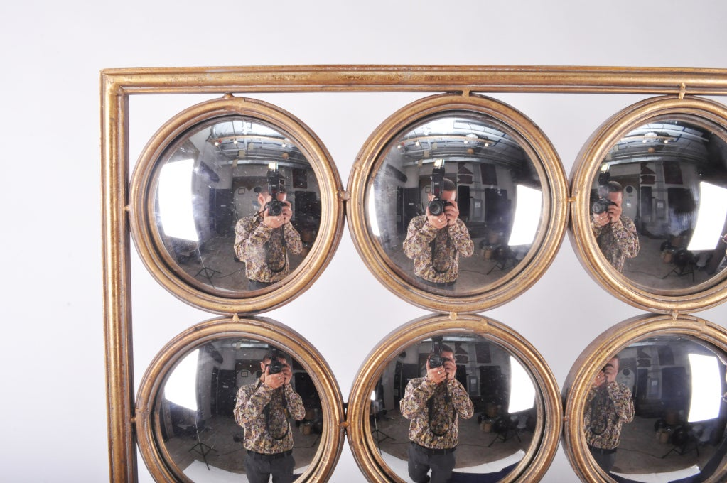 Decoration Panel Of Round Curved Mirrors At 1stdibs