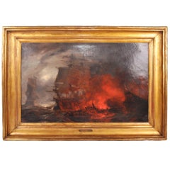 """Oil Painting of """"Naval Battle"""" by Richard Faxon"""