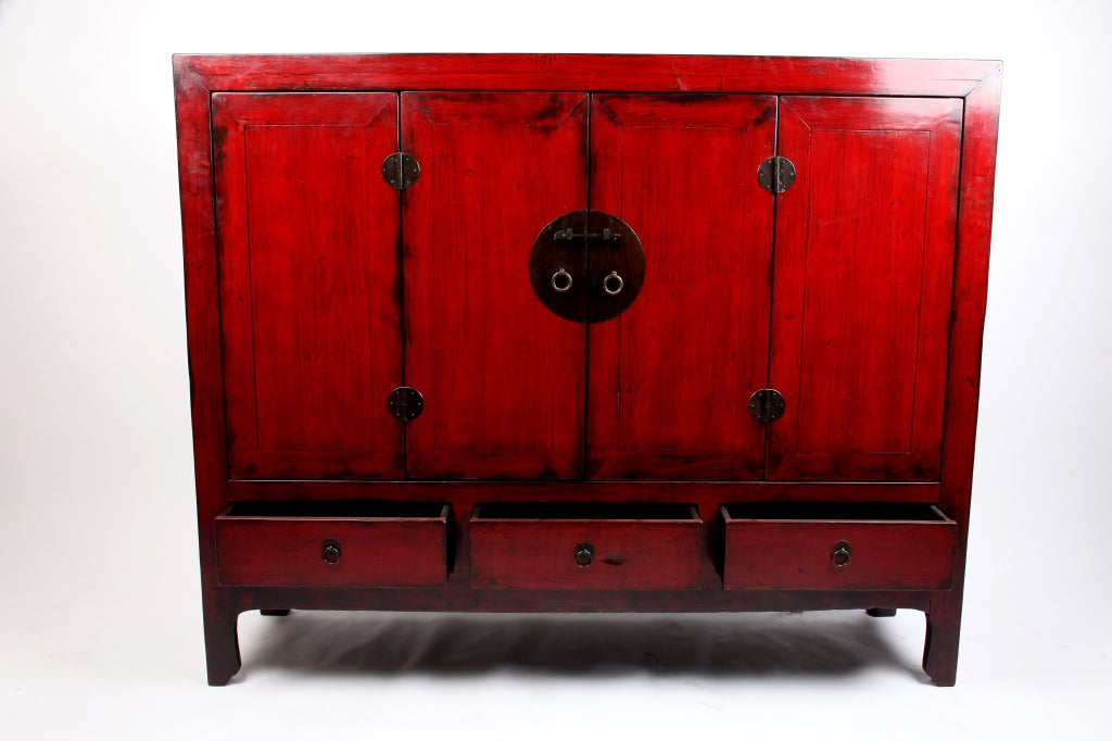 Chinese Red Lacquered Cabinet With 4 Doors And 3 Drawers