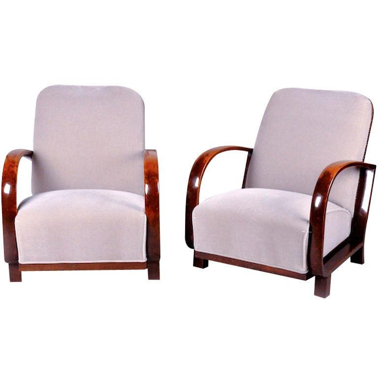 Pair of art deco arm chairs at 1stdibs for Art deco furniture chicago
