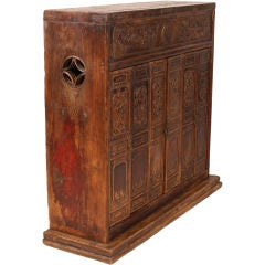 Small Carved Altar Chest with Three Pairs of Doors