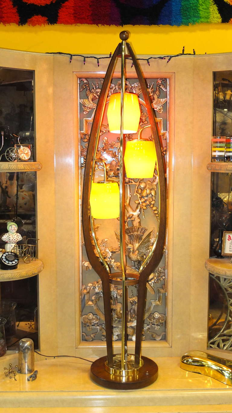 1960 S Brass Walnut And Colored Glass Birdcage Floor Lamp For Sale