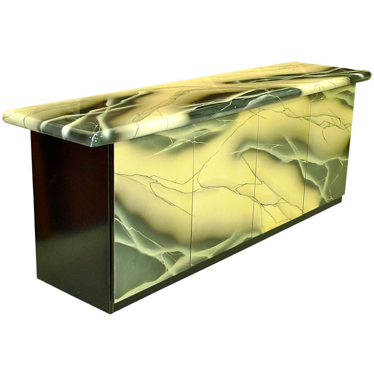 1980's Custom Sideboard with Faux Marble Lacquer