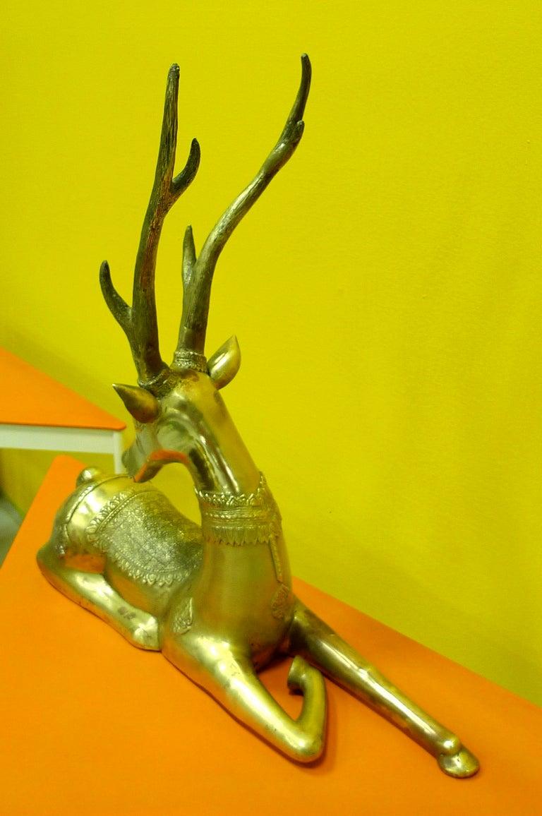 Pair of Brass Resting Deer by Sarreid For Sale 1