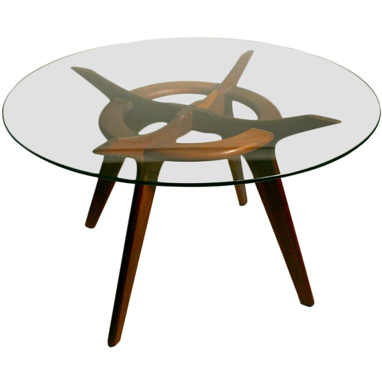 Round Walnut Dining Table By Adrian Pearsall At 1stdibs