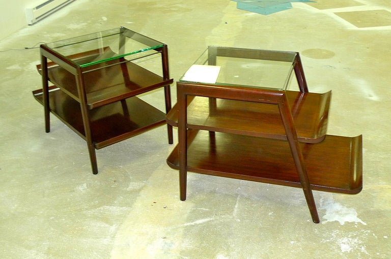 pair of mid century modern three tier step end tables at
