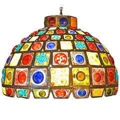 Dome Shade Pendant of Leaded Craft Blown Glass