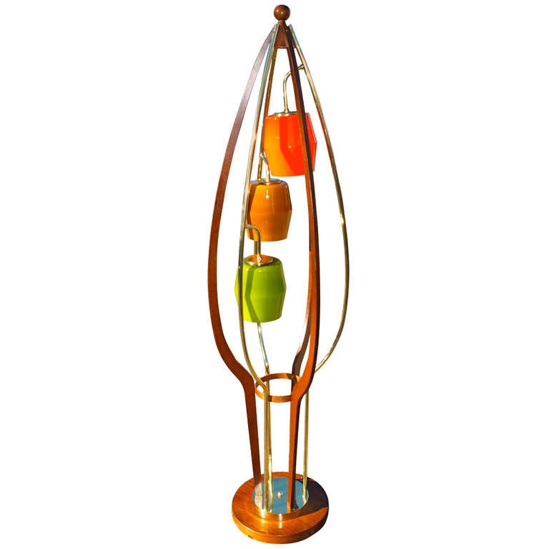 1960's Brass, Walnut & Colored Glass Birdcage Floor Lamp
