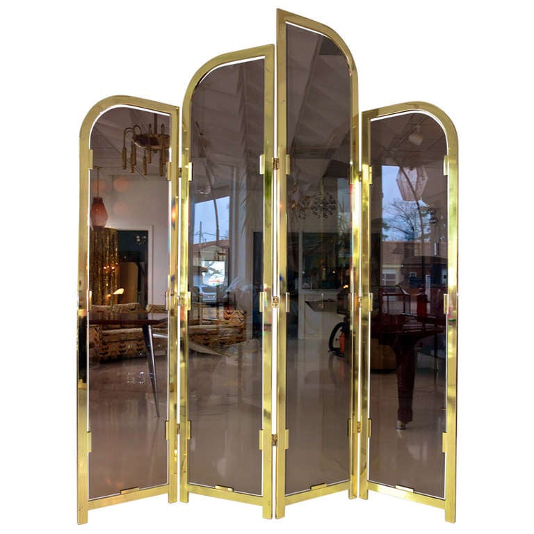 Brass & Smoked Glass Four Panel Folding Floor Screen DIA For Sale