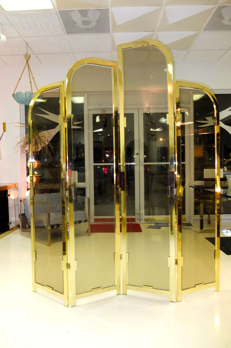 Brass & Smoked Glass Four Panel Folding Floor Screen DIA In Excellent Condition For Sale In Hingham, MA