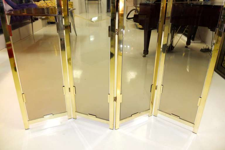 Brass & Smoked Glass Four Panel Folding Floor Screen DIA For Sale 4