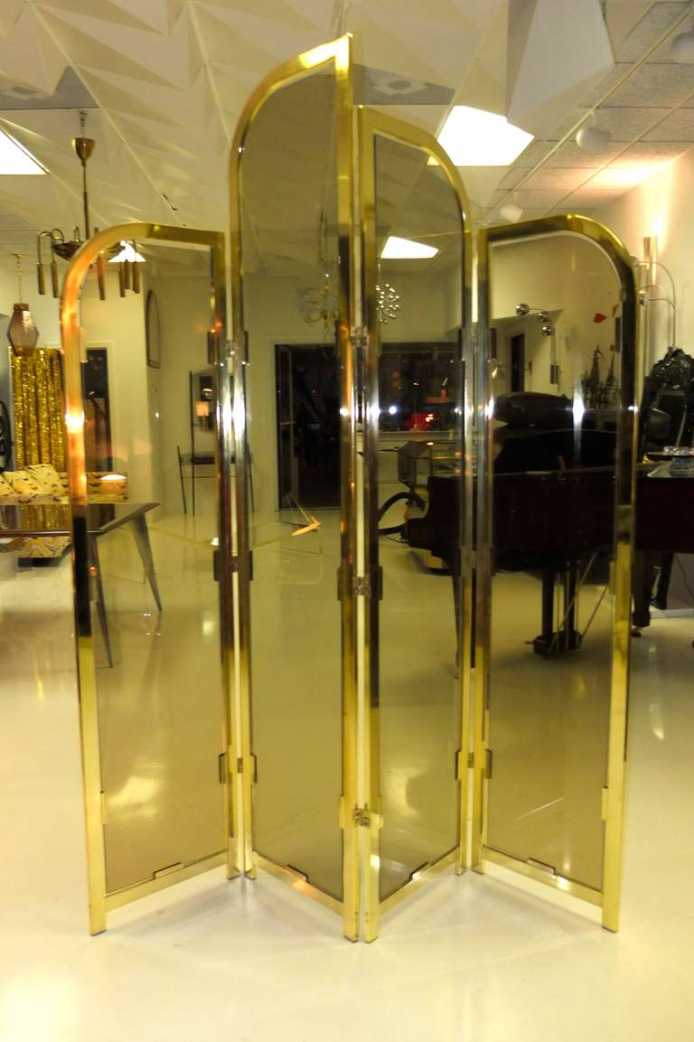 American Brass & Smoked Glass Four Panel Folding Floor Screen DIA For Sale