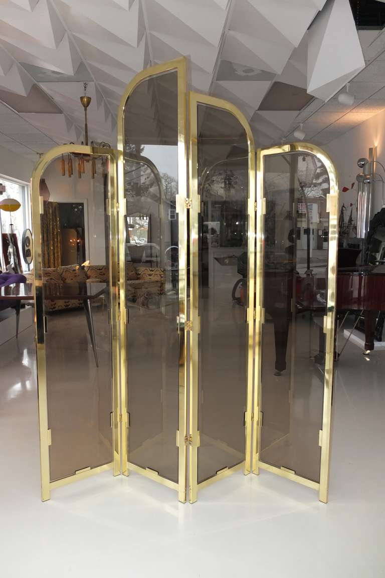 Plated Brass & Smoked Glass Four Panel Folding Floor Screen DIA For Sale