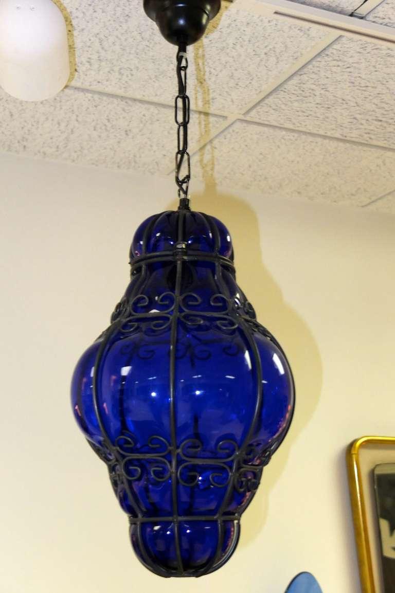 Cobalt Blue Murano Bubble Glass Cage Lantern 4