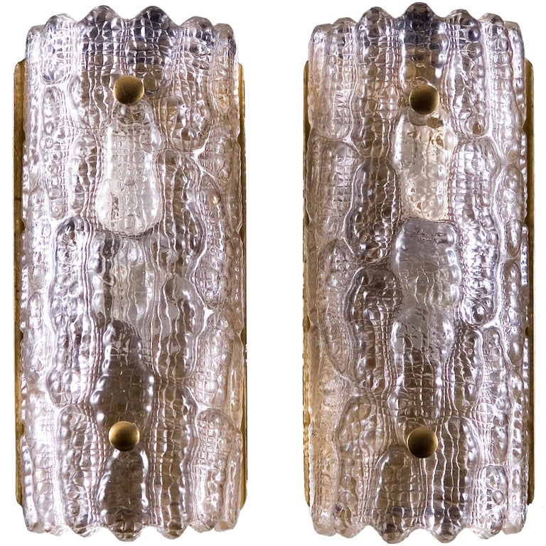 Pair of Large Orrefors Glass Wall Lights / Sconces by Carl Fagerlund  with brass fittings for Orrefors Sweden