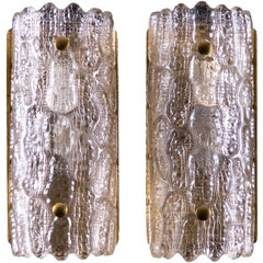 Pair of Orrefors Glass Wall Lights / Sconces by Carl Fagerlund
