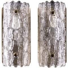 Pair of Large Orrefors Glass Wall Lights / Sconces by Carl Fagerlund