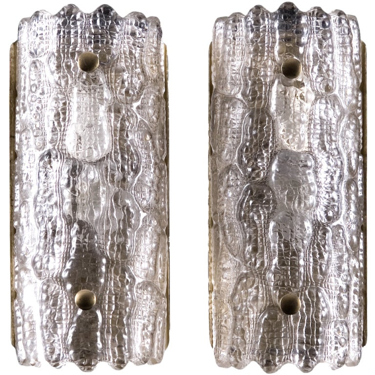 Pair of Large Orrefors Glass Wall Lights / Sconces by Carl Fagerlund  For Sale