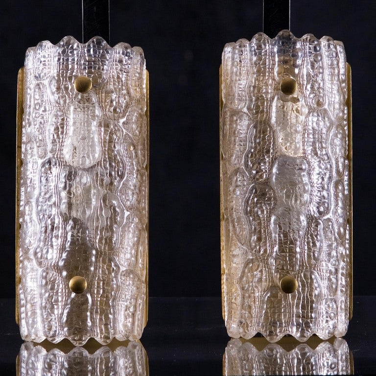 Swedish Pair of Large Orrefors Glass Wall Lights / Sconces by Carl Fagerlund  For Sale