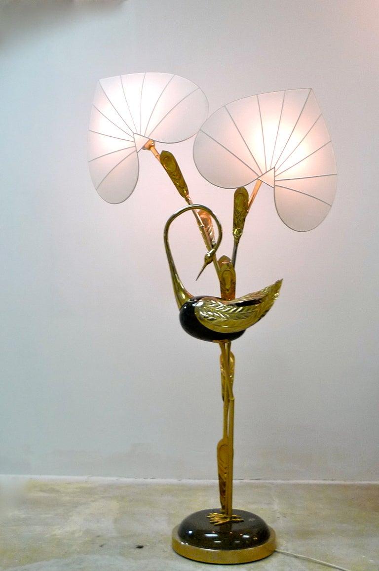 Antonio Pavia Brass Egret Floor Lamp With Leaf Form Shades