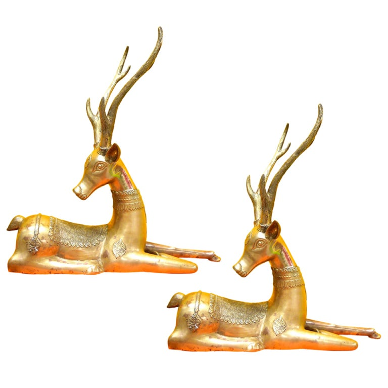 Pair Of Brass Resting Deer By Sarreid For Sale At 1stdibs