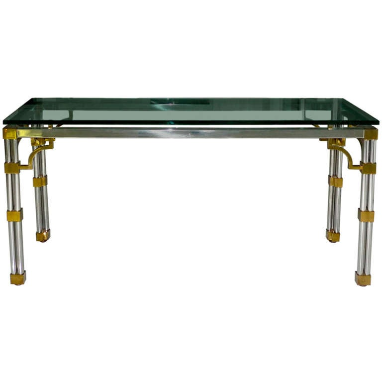 Stainless Steel Brass And Glass Console Table At 1stdibs