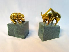 Bull and Bear Brass and Marble Bookends