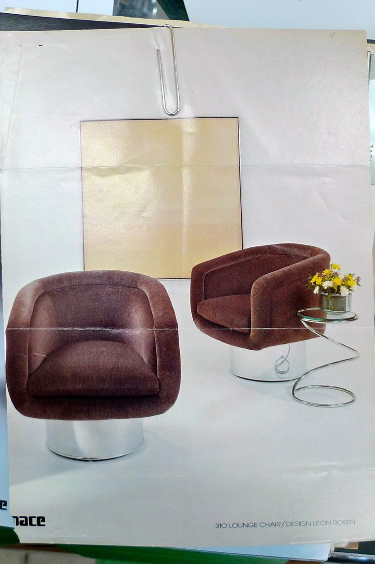 Pair of Swivel Tub Lounge Chairs by Leon Rosen for Pace Collection For Sale 2