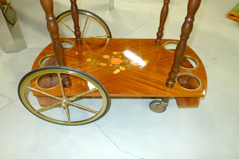 1960's Italian Marquetry Bar Cart For Sale 1