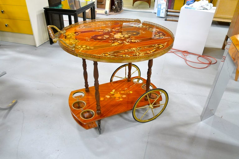 1960's Italian Marquetry Bar Cart For Sale 2