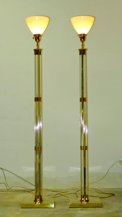 Pair of Lucite & Brass Tochiere Floor Lamps