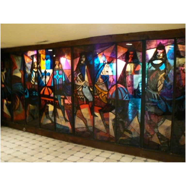 King Arthur Mural (16' x 6') by Peter Ostuni for Savoy-Plaza Hotel 1951 For Sale 2
