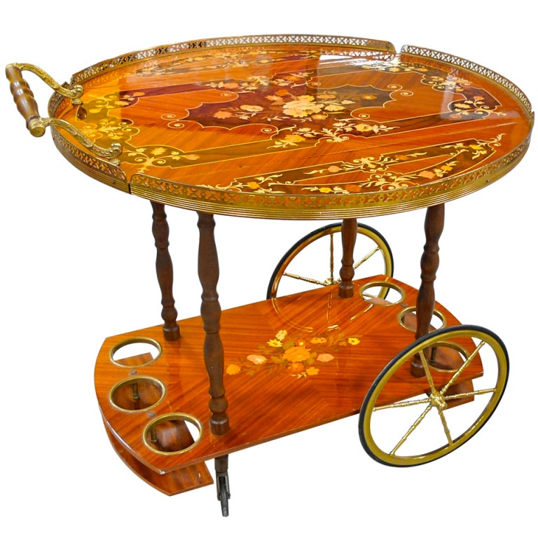 1960's Italian Marquetry Bar Cart For Sale