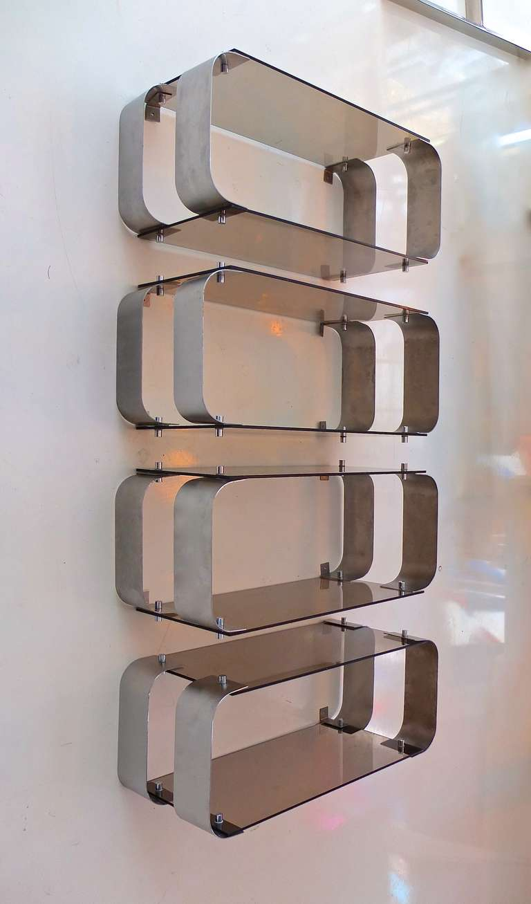 Modular wall shelves by architect donald singer at 1stdibs - Wall metal shelf ...