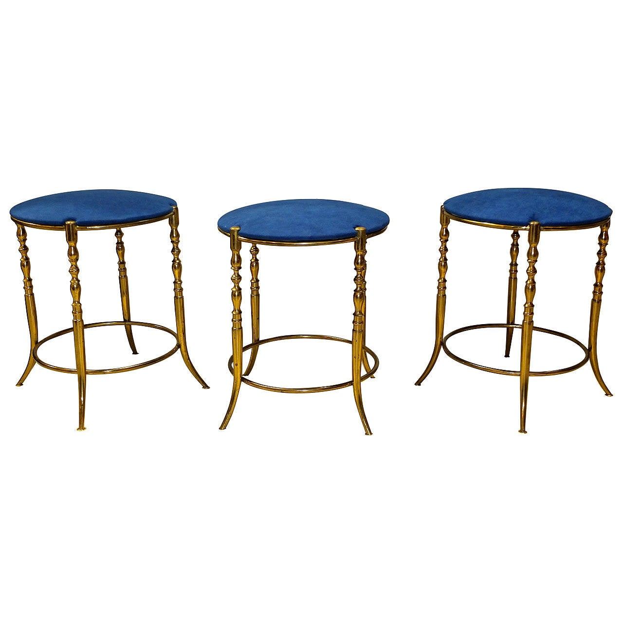 Set of Three Italian Brass Chiavari Round Stools 1