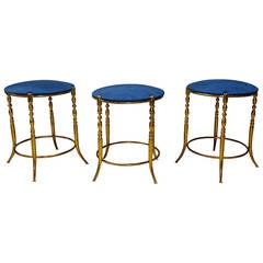 Set of Three Italian Brass Chiavari Round Stools